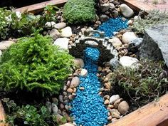 Blue stone stream...mix in blue glass and glitter...