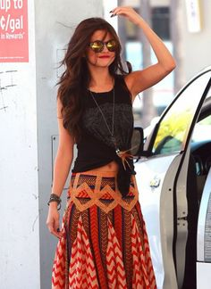 Selena's Boho Chic With Maxi Skirt