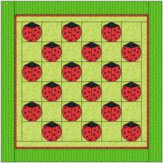Free ladybug quilt idea, design by Dorte Rasmussen Denmark