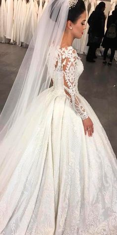 30 Ball Gown Wedding Dresses Fit For A Queen ❤ ball gown wedding dresses lace long sleeves beautiful princess with train sima couture ❤ See more: http://www.weddingforward.com/ball-gown-wedding-dresses/ #weddingforward #wedding #bride