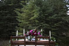 Outdoor Wedding Reception - Moody Romantic Marsala Magenta Color Tones - Candles - Copper Chargers - Outdoor Dining Table for Wedding Guests
