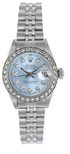 Rolex Ladies Datejust Steel Ice Blue Diamond Dial & Bezel - Jubilee
