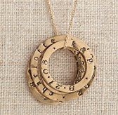 Personalized Bronze Stacking Ring Necklace