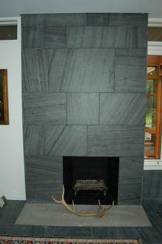 Designer: C & J Katz Studio. Slate Fireplace Surround, Fireplace Surrounds, Fireplace Design, Stone Fireplaces, Fireplace Ideas, Floating Mantel, Tv Cabinets, Studio, Architecture
