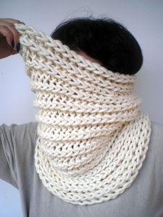 Cream White Harmonic Cowl Super Soft  Wool by GiuliaKnit on Etsy