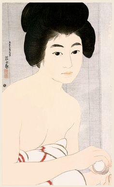 Face Powder  by Ito Shinsui, 1923  (published by Watanabe Shozaburo)