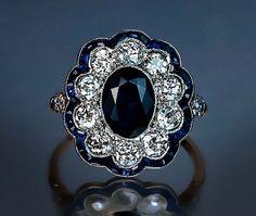 Sapphire and Diamond Engagement Ring c. 1910