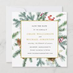 Christmas Wedding Invitations, Beautiful Wedding Invitations, Christmas Save The Date, Modern Wedding Save The Dates, Proposal Photos, Wedding Card Templates, Botanical Wedding, Wedding Announcements, Minimalist Wedding