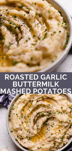 roasted garlic buttermilk mashed potatoes. an easy & ultra creamy roasted garlic buttermilk mashed potatoes recipe! yukon gold potatoes get mashed until perfectly creamy with butter & buttermilk, then finished with deeply caramelized roasted garlic. the perfect side dish for thanksgiving or any comfort food dinner! #playswellwithbutter #buttermilkmashedpotatoesrecipe #roastedgarlicbuttermilkmashedpotatoes #easymashedpotatoes #bestmashedpotatoes #thanksgivingsidedish #thanksgivingrecipe