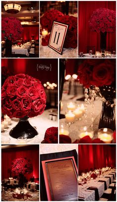 Red, black and white wedding theme; red roses; candles
