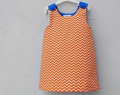 The Ava Dress - Organic Toddler Girls Dress in Chevron - Orange and Royal Blue Geometric Modern Pinafore (READY TO SHIP size 3T) $58