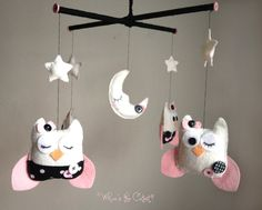 Baby Mobile  Pink and Black Polka Dot Owl by WhooosTheCutest, $90.00