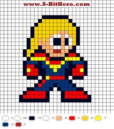 Captain Marvel 8-Bit Perler Bead Pattern