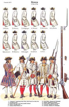 French; Line Infantry, Picardie to Pons 1720-36.Regiment de Champagne, Drum-Major. Regiment de Piemont, Sergeant, Private & Lieutenant. Regiment de Champagne, Lieutenant. By L.Rousselot
