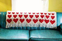 DIY painted red heart blanket