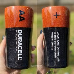 """Duracell - Caution Do Not Talk To This Person Until Mug Is Empty!"" We take plain Ozark Trail tumblers and turn them into these beautiful masterpieces. 20 or 30 oz we have you covered! Personalize any tumbler with your name, contact us for details! Diy Tumblers, Custom Tumblers, Tumbler Cups, Sippy Cups, How To Dye Fabric, Dyeing Fabric, Diy Resin Crafts, Cricut Craft Room, Custom Cups"