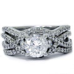 Pompeii3  1.70CT Twist Infinity REAL Diamond Engagement Ring Wedding Band Set White Gold $1699.00