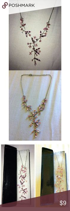 Pink floral necklace Silver & pink floral Jewelry Necklaces