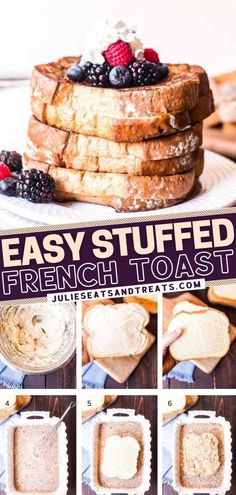 Awesome French Toast Recipe, Best French Toast, Cream Cheese Stuffed French Toast Recipe, Easy Cream Cheese Recipes, Cream Cheese Toast, Brunch Recipes, Dessert Recipes, Breakfast Recipes, Fun Desserts