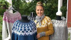 Neulo Strömsö-villapaita – Lee on suunnitellut uuden mallin, jonka innoituksena ovat olleet Strömsön kuistin puuleikkaukset | Askartelu ja käsityöt | Strömsö | yle.fi Sewing Crafts, Christmas Sweaters, Free Pattern, Knit Crochet, Knitting Patterns, Men Sweater, Graphic Sweatshirt, Tees, Womens Fashion