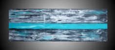 Large Painting Turquoise art on canvas Oversized Art Abstract Painting Acrylic Wall Deco Black and White 72 x 24 Ready to Hang Made to Order