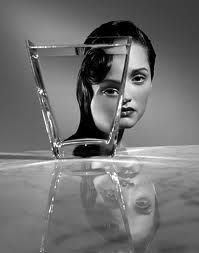portrait with glass and water: