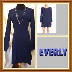 Beautiful Long sleeve shift dress. Beautiful navy blue dress. Everly Dresses
