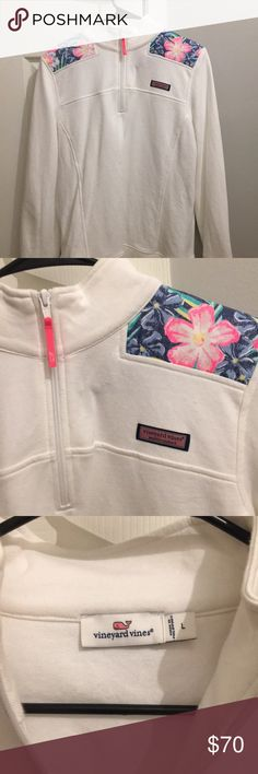 Vineyard Vines Shep Shirt White with a Hawaiian Flower print . Very good condition Size Large Vineyard Vines Tops Sweatshirts & Hoodies