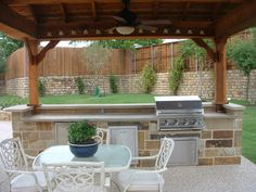 Outdoor Kitchen Area With Grilling Station --- like the upper area for guests and the lower area for food prep