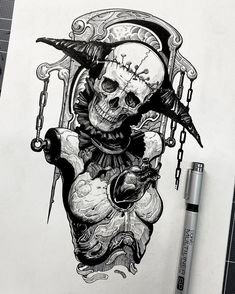 Badass Drawings, Dark Art Drawings, Tattoo Design Drawings, Tattoo Sketches, Creepy Tattoos, Skull Tattoos, Sleeve Tattoos, Arte Horror, Horror Art
