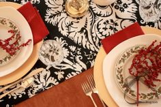 Black White and Red Christmas Table