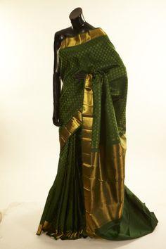 Kancheepuram, Kanjipuram- silk dark olive green saree with blouse
