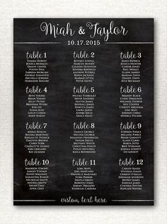 Simple & Rustic Chalkboard Style Wedding Seating Chart Printable, Alphabetical Printable Wedding Seating Chart, Custom Sizes/Color Available