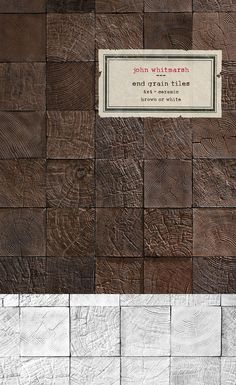 """""""End Grain"""", John Whitemarsh - although they are pricey these can add so much character to a rustic tile project. Tile Patterns, Textures Patterns, Architectural Materials, The Design Files, Cool House Designs, Stone Tiles, Brown Wood, Tile Design, Textured Walls"""