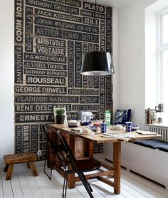 If one were afraid of attempting this on the actual wall, one could make the author wall with a couple pieces of plywood, a few prints from Staples, and a wood transfer tool.