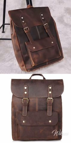 Retro Leisure Handmade Real Leather Double Buckle British Style Large School Backpack Retro Leisure Handmade Real Leather Double Buckle British Style Large School Backpack
