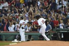 Aug 5, 2017; Boston, MA, USA; Boston Red Sox center fielder Jackie Bradley Jr. (19) rounds first base after hitting a home run during the second inning against the Chicago White Sox at Fenway Park. Mandatory Credit: Bob DeChiara-USA TODAY Sports