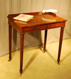 Pretty little Gillows Chamber Writing Table in Mahogany just in and with the secret lidded ink and pen compartment to the top.