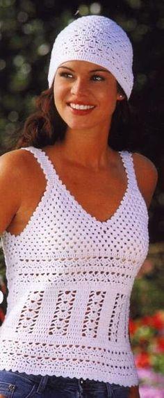 Mandarin Petit – Crochet Summer Top and Hat – Knitting patterns, knitting designs, knitting for beginners. Débardeurs Au Crochet, Bonnet Crochet, Mode Crochet, Crochet Woman, Crochet Beanie, Crocheted Hats, Crochet Summer Tops, Crochet Halter Tops, Crochet Skirts