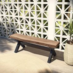 Create an inviting Zen garden seating retreat with the Bali 48 in. outdoor bench by OVE Decors. This versatile bench features a striking live edge planked wood look top and a durable x-braced black aluminum base. You'll appreciate the intricate faux Patio Bench, Diy Bench, Diy Chair, Outdoor Wood Bench, Balcony Bench, Rustic Bench, Outdoor Fire, Benches, Concrete Furniture