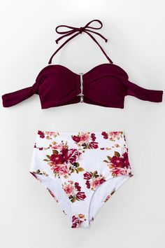 739b78a5386c52 #EnvyWe #CupShe - #CUPSHE Romantic Red And Floral High-waisted Bikini -