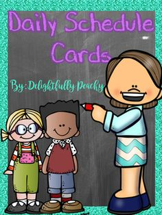 Teal & Purple Schedule Cards. Some cards are already labeled, but there are…