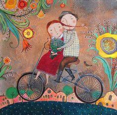 Passejant amb la bicicleta / Paseando con la bicicleta / Walking with the bicycle Art And Illustration, Bicycle Art, Cycling Art, Motif Floral, Whimsical Art, Flower Art, Folk Art, Art Decor, Art Gallery
