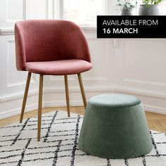 The velour chairs and pouffes in velour and textile are part of Anna and Clara's refreshing spring collection, which combines Parisian decadence with Scandinavian minimalism. Chairs, price DKK 398,00 / ISK 9880,00 / SEK 576,00 / NOK 578,00 / EUR 52,88 / GBP 49,94. Pouffes, price DKK 219,00 / ISK 5298,00 / SEK 314,00 / NOK 316,00 / EUR 29,96 / GBP 30,96