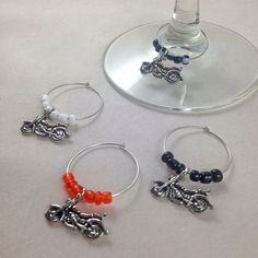Harley Davidson Motorcycle Wine Charms, Motorcycle Wine Tags