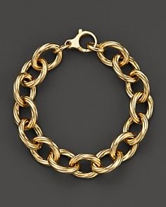 Roberto Coin 18K Yellow Gold Textured Oval Link Bracelet - Bloomingdale's Exclusive