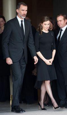 29 March 2017 - King Felipe and Queen Letizia attend the funeral of Alicia Borbòn-Parma