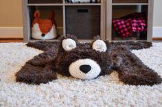 Nursery Rug Large Size Bear Woodland Baby Room Decor Animal Playmat