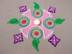Small and beautiful rangoli design | easy rangoli design | Innovative and unique rangoli - YouTube