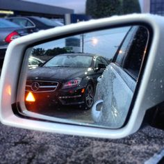 Mercedes Benz w/ Blind Spot Assist spots Mercedes Benz CLS63 AMG in side view